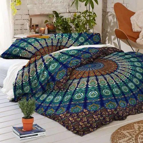 Indian Cotton Ombre Mandala Queen Bed Set Quilt Duvet Cover Blanket Quilt Cover