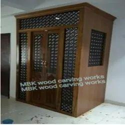 Brown Teak Wood Wooden Pooja Mandir Room, For Worship
