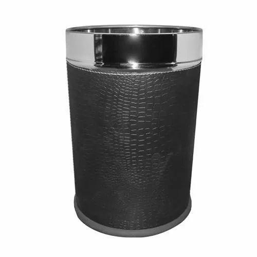 Stainless Steel Open Top Leatherette Solid Bin Dustbin, Capacity: 11-15 Liters