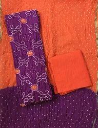 Purple Bandhani Dress Material