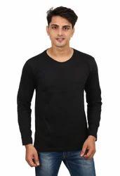 Men's Cotton Full Sleeves Plain Casual Black T-Shirt, Size: S to XXL