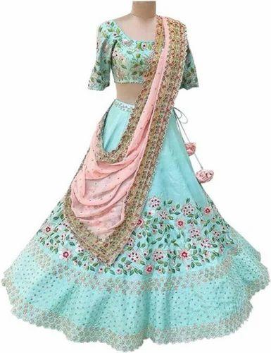 51bc67effdee88 New Latest Bollywood Designer Sky Blue Embroidered Lehenga Choli at ...