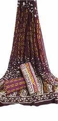 Hand Block Printed Cotton Chiffon Dupatta Suit Fabric