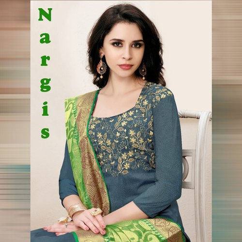 23371527ef Party Wear Owalpnarg Alpha Textile Nargis Banarsi Silk Dress Material