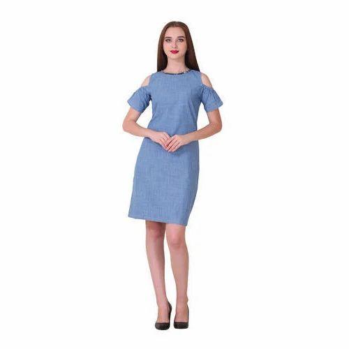 Ladies Party Wear Plain Denim Cold Shoulder Dress