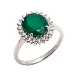 Green Onyx Cluster Rings