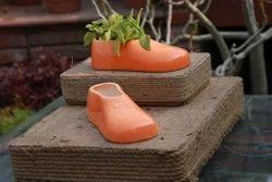 Ceramic Orange Shoe Planter