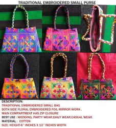 Mix Cotton Casual Wear Ladies Kutch Embroidered Fashion bag