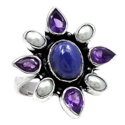 Lapis With Amethyst, Pearl Rings
