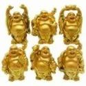 Kesar Zems Ceramic Laughing Buddha Showpiece Set for Wealth and Goodluck (Gold, Pack of 6)