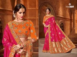 Indian Women Pink Color Silk Jacquard Saree