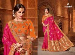 Indian Women Pink Color Silk Jacquard Saree