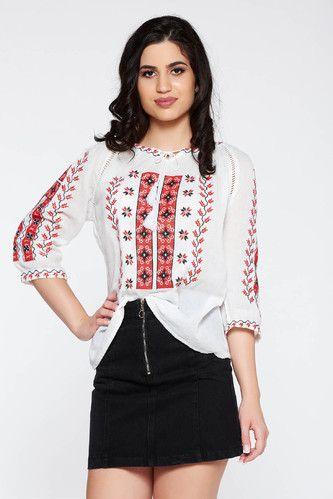 a9c09936f8f056 Cotton Half Sleeves Handmade Romanian Blouse