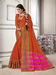 Gorgeous Orange Colored Party Wear Chanderi Cotton Saree with Blouse Piece