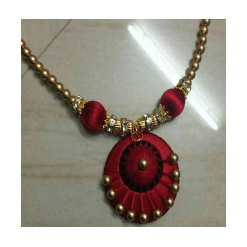 picture of silk com thread necklace color yellow othoba