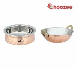 Choozee -Steel Copper Serving Items Set of 2 Pcs (Handi and Kadhai) (600Ml)