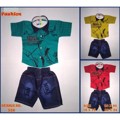Kids Shirts and Shorts Cotton And Denim 3-9 Year Baba Designer Suit, 16x18, 20x30 And 32x34, Age: 3-9 Year