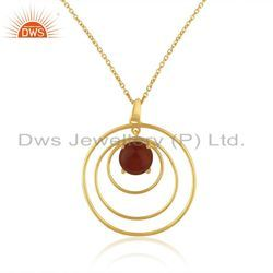 Designer Gold Plated Silver Red Onyx Gemstone Chain Pendant