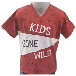 Single Jersey Casual Wear Kids V Neck T Shirt