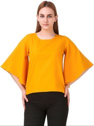Mustard Yellow Solid Crepe Top