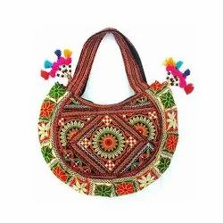 Embroidered Handled Ladies Floral Print Handicraft Bags