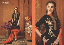 Ladies Cotton Orange & Black Salwar Kameez