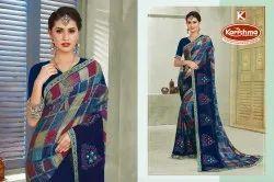 Printed Embroidered Silk Chiffon Saree - Selina