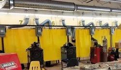 Welding booth curtains