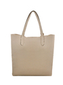 Beige Synthetic Leather Tote Bag