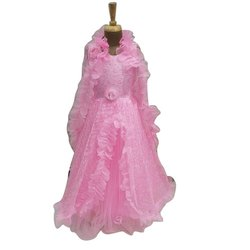 Net Kids Pink Frilled Party Wear Gown, Age: 5-15 Years