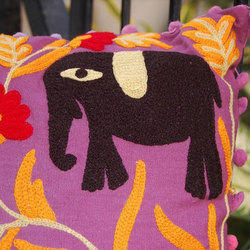 Elephant Embroidery Cushion