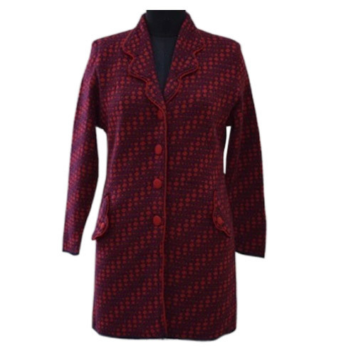 Ladies Front Button Long Coat