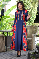 A-line Party-wear Kurti