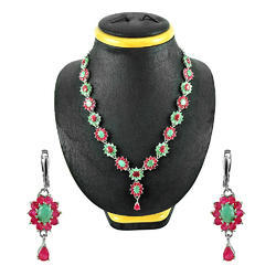 Party wear Pendant Stunning Ruby Emerald 925 Sterling Silver Jewellery Set, Packaging Type: Box, 25-30 Gm