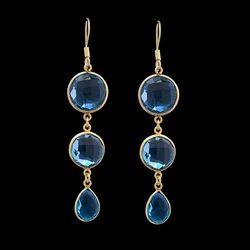 Tear Drop Bezel Gemstone Blue Topaz Gold Plated Dangle Earrings