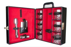 Bar Accessories Portable Leatherette Briefcase Bar Set - Black & Red