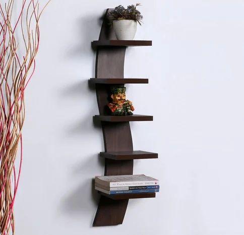 wall shelf rack curve shape 5 tier wall shelves deewar par lage