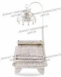 Metal silver plated Singhasan