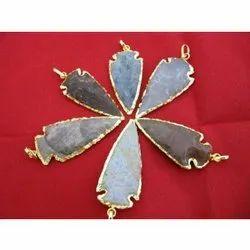 Jasper Gold Electroplated Arrowhead Pendant
