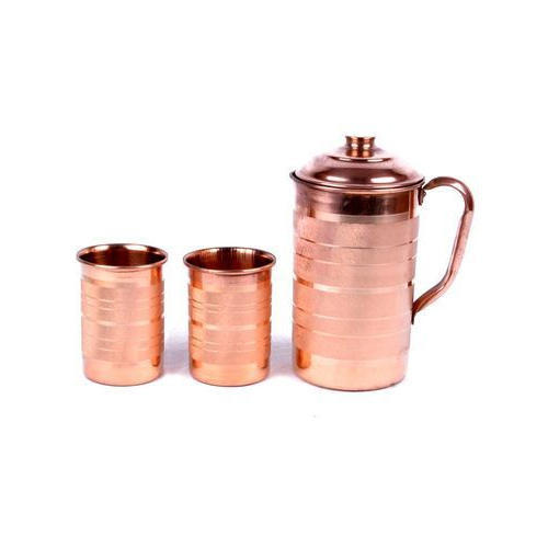 R S Copper Tumbler With Jug