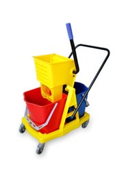 Imported Plastic Double Bucket Wringer Trolley, For Hotels, Bucket Capacity: 34 Ltrs