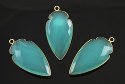 Aqua Chalcedony Bezel Set Gemstone Arrowhead Pendant