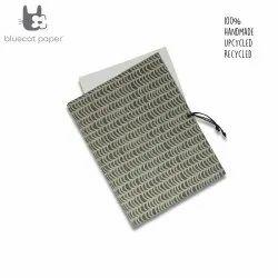 Linen File Folder - Beige Waves Print