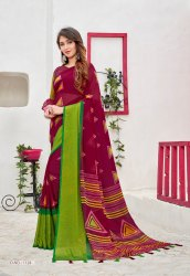 Embroidery Block Print Printed Party Wear Brasso Saree with Blouse, 6.3mtr