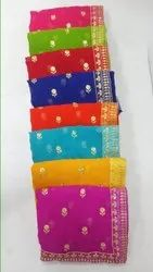 Mulchand Work Embroidered Saree, 6 m (With Blouse Piece)