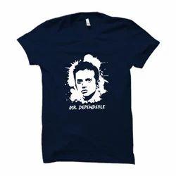 Blue Cotton Dravid Mr Dependable Half Sleeve T Shirt, Size: L & M