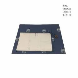 Handmade paper table organizer - navy blue, beige owls