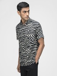 Printed Zebra Half Sleeve Men Casual Cotton Viscose Shirt
