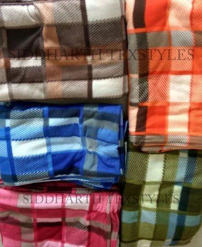 60 Inch Width Blue Check Polar Fleece Material,Fabric,Soft //Washable