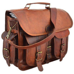 Aries Mart Leather Briefcase Messenger Bag